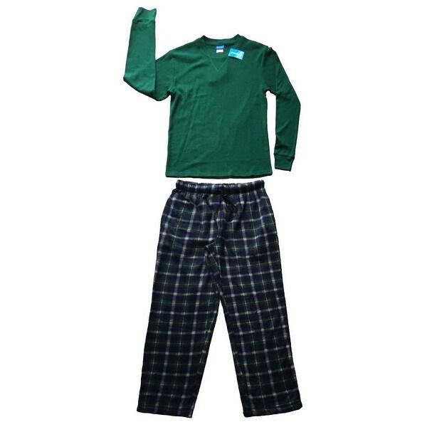 Men Cotton Thermal Top & Fleece Lined Pants Pajamas Set (Hunter Green)
