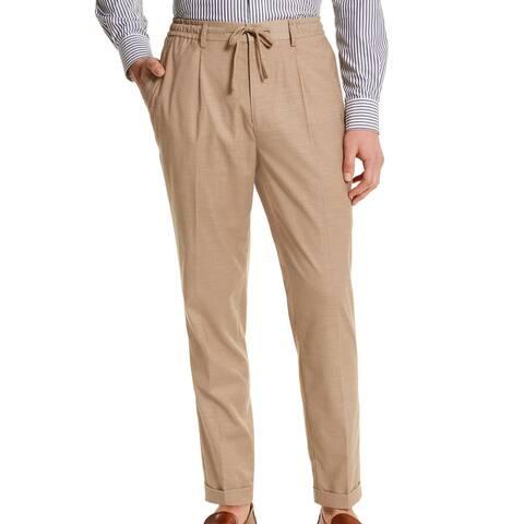 Tasso Elba Mens Pants Beige Size 2XL Drawstring Cuffed Pleated Stretch