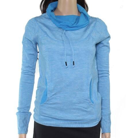 PrAna Womens Sweatshirt Heather Blue XS Cowl Neck Seamed Media Pocket