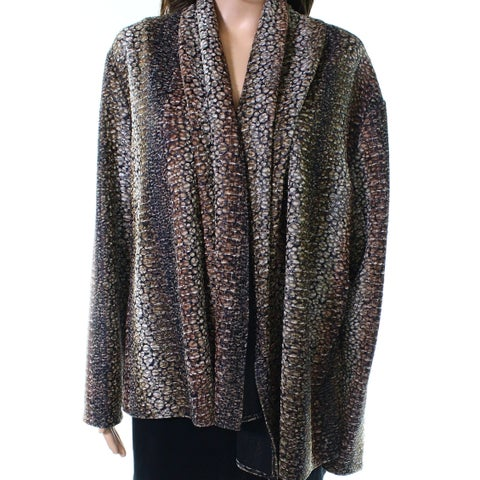 Picadilly Brown Women Size XL Open Front Textured Long Sleeve Jacket