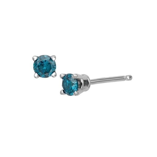 1/4 ct Blue Diamond Stud Earrings in Sterling Silver
