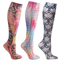 Women's Moderate Compression Wide Calf Knee High Support Socks - Top Colors - 3 Pair - Medium