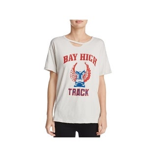 Project Social T Womens Bay High Track T-Shirt Distressed Graphic - XS