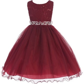 Glitters Sequined Bodice Double Layer Tulle Flower Girl Dress - Burg
