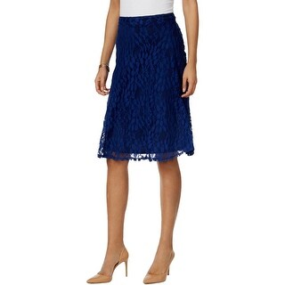 NY Collection Womens Petites April Fashion A-Line Skirt Lace Lined