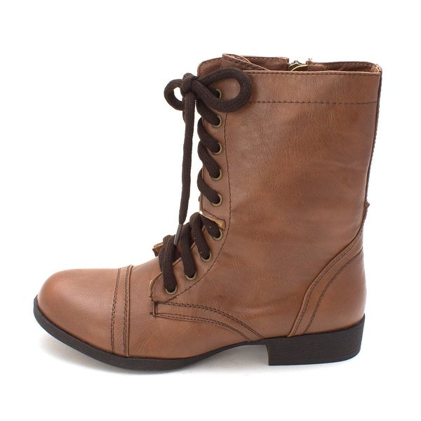 Just Fab Womens Breann Closed Toe Mid-Calf Combat Boots - 7