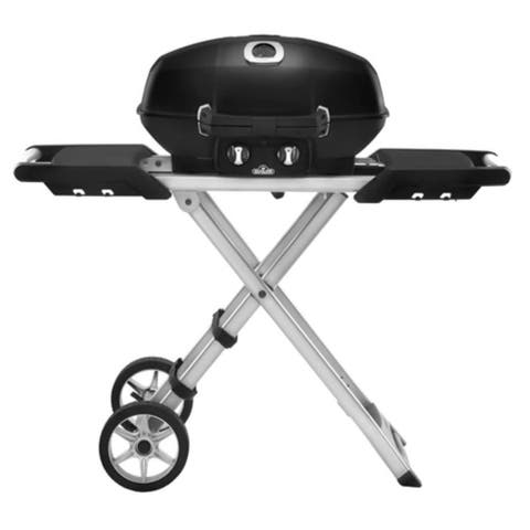"Napoleon PRO285X TravelQ 12000 BTU 29"" Wide Dual Burner Liquid Propane Portable Grill with Folding Cart - Black"