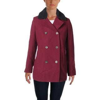 Tommy Hilfiger Womens Wool Faux Fur Trim Pea Coat