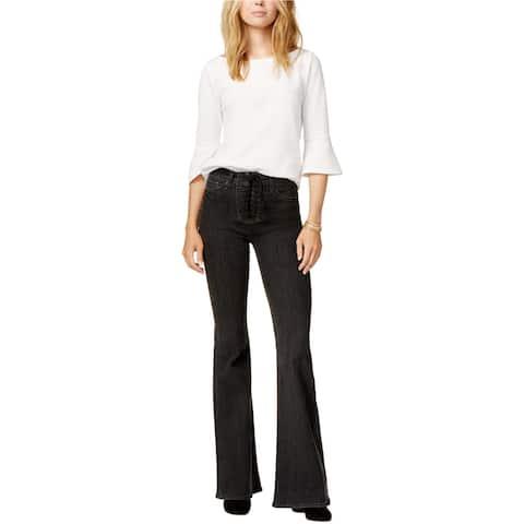 Hudson Womens Lace-up Flared Jeans, Black, 28 Regular