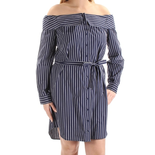 57c0e4222758 Shop KENSIE Womens Navy Belted Striped Cuffed Off Shoulder Above The Knee Shirt  Dress Dress Size  XS - On Sale - Free Shipping On Orders Over  45 ...