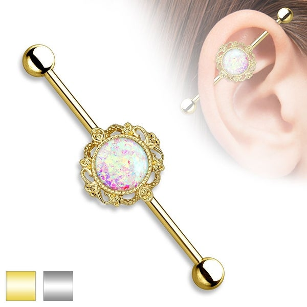 Opal Glitter center with Filigree Around Industrial Barbell - 14GA (Sold Ind.)