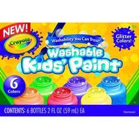 Crayola Washable Washable Kid's Paint Set,  Assorted Glitter, 2 oz, Set of 6