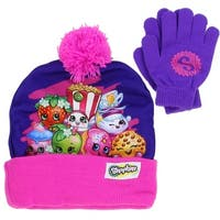 Shopkin Girls Winter Hat and Glove Set - Pink/Purple