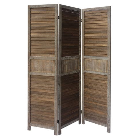 3 Panel Foldable Wooden Divider Privacy Screen with Grains and Metal Hinges, Brown and Gray