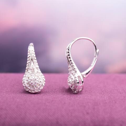 Miadora Sterling Silver 1/4ct TDW Diamond Dangle Earrings
