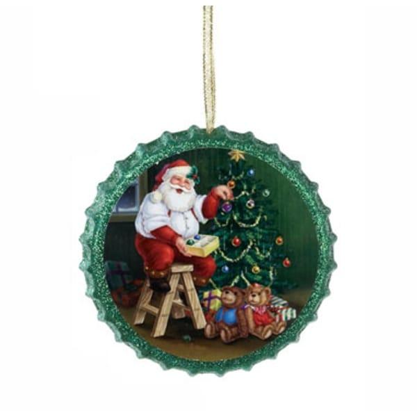 "4"" Retro Santa Claus Green Decoupage Glittered Bottle Cap Christmas Ornament"