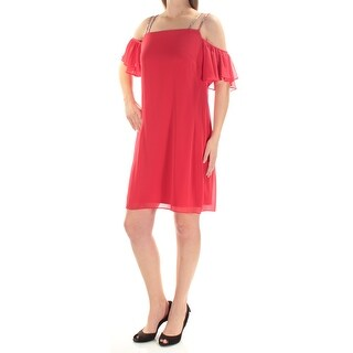MSK $79 Womens 1434 Red Square Neck Short Sleeve Sheath Prom Dress 16 B+B