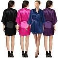 Sexy Womens Plain Satin Soft Charmeuse Kimono Bathrobe Belt Robes Set Lingerie - Thumbnail 9