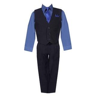 Little Boys Black Navy Shirt Vest Pants Neck Tie Pocket Hanky 5 pcs Suit 2-7