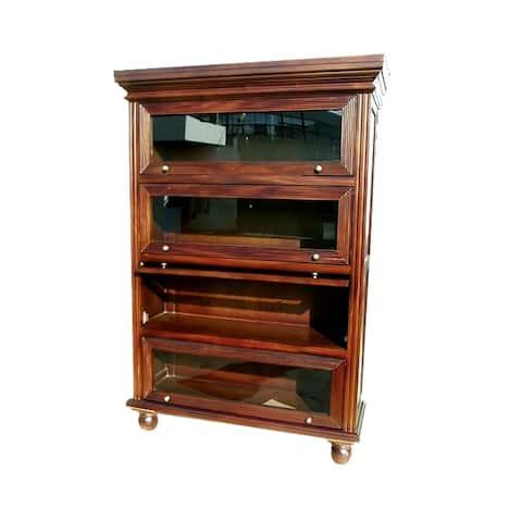 Offex Handmade Kiln Dried Mahogany Barrister Curio Bookcase