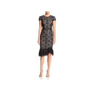 Betsey Johnson Womens Cocktail Dress Lace Mid-Calf