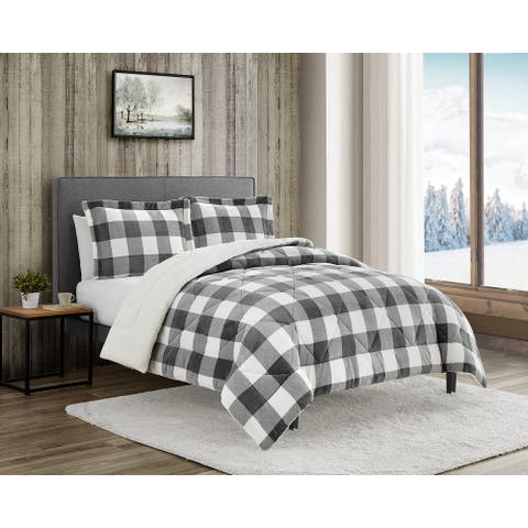 Gray and White Buffalo check 3 piece comforter set