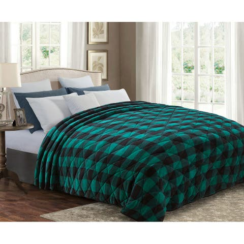 Ultra Soft Premium Reversible Microfiber Sherpa Blanket King 110x92 Cozy Light Weight for ALL Seasons Green