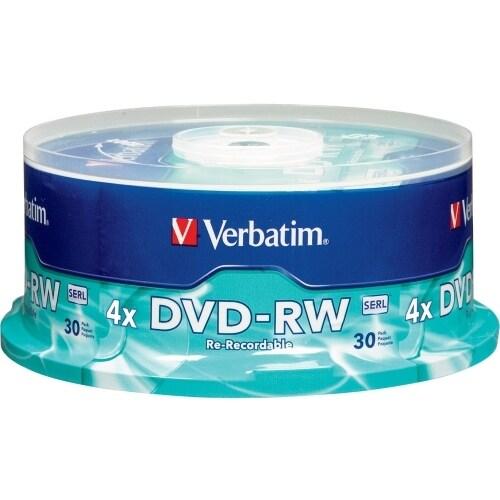 Verbatim 95179 Verbatim DVD-RW 4.7GB 4X with Branded Surface - 30pk Spindle - 4.7GB - 30 Pack