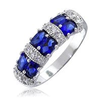 Bling Jewelry 925 Sterling Silver Blue CZ Vintage Style Ring