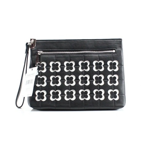 Nine West NEW Black Pleather Small Candis Embossed Zip Wristlet Clutch