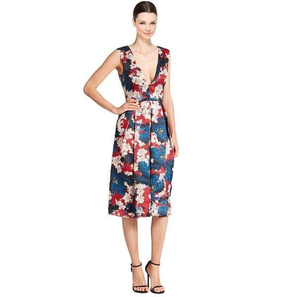 2cf6b222e5cc7 Erdem Loren Pleated Floral Silk V-Neck Sleeveless Cocktail Evening Dress  Red Multi