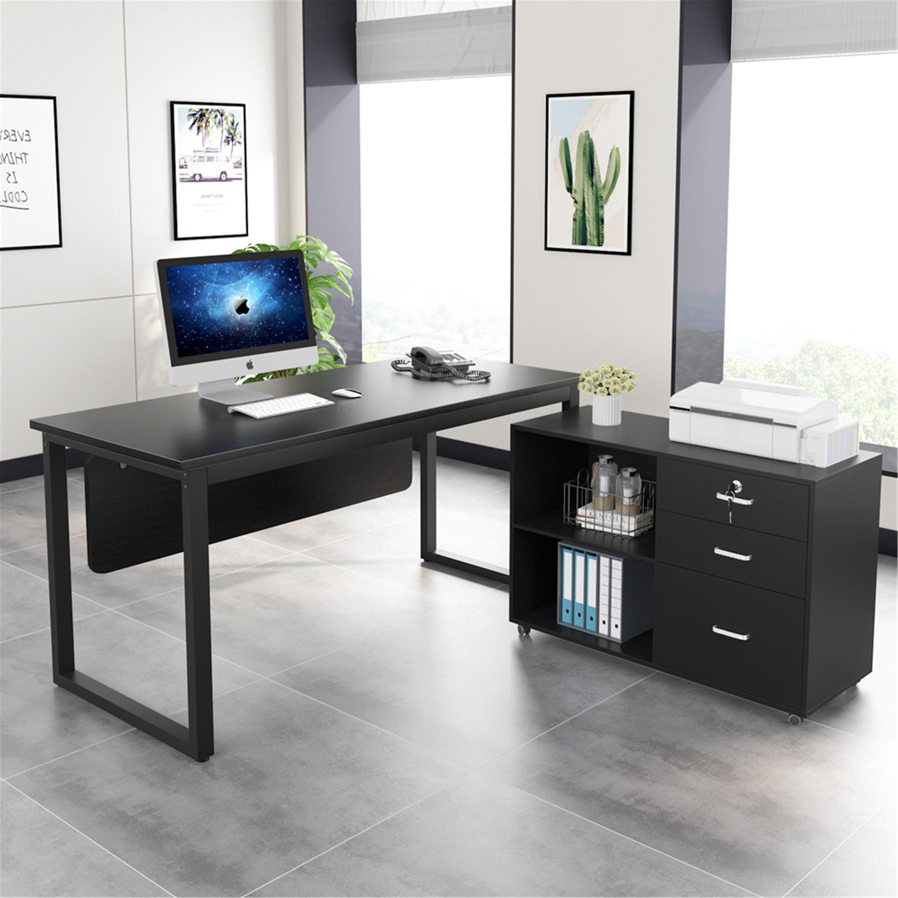 55 Inches L Shaped Computer Desk With Mobile File Cabinet Black Overstock 31669982