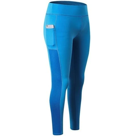 High Waist Out Pocket Yoga Pants Workout Running 4 Way Stretch Yoga Leggings Black