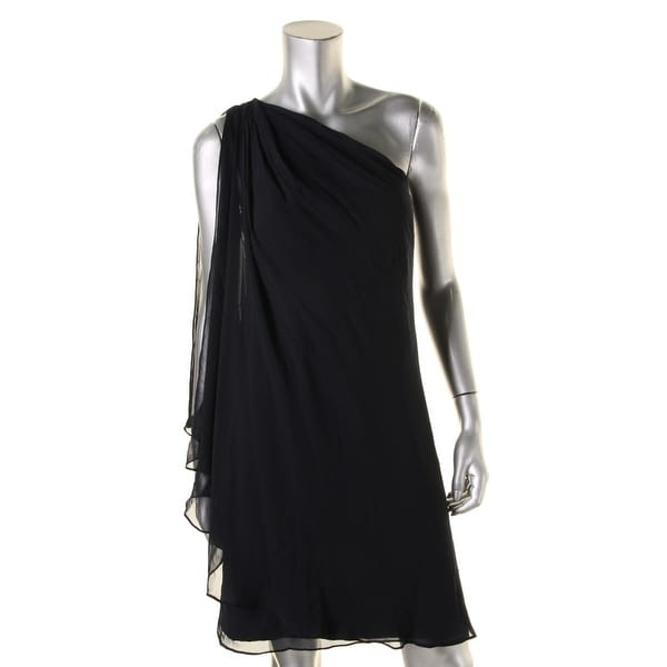 Lauren Ralph Lauren Womens Petites Cocktail Dress One Shoulder Open Shoulder