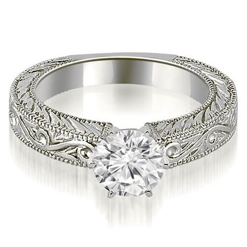 0.75 cttw. 14K White Gold Antique Round Cut Diamond Engagement Ring