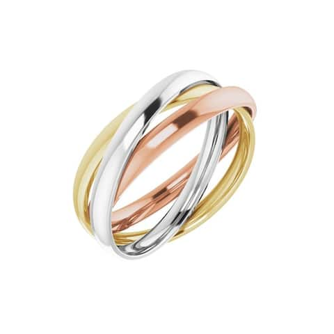 14K Tri-Color Three Band Rolling Ring for Women (Size :5.5)