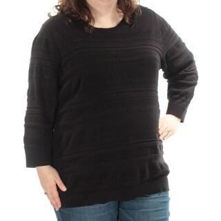 KAREN SCOTT $21 Womens New 1398 Black Jewel Neck Long Sleeve Top 3X Plus B+B