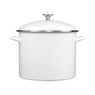 Cuisinart EOS166-30W Enamel Stockpot with Cover, 16-Quart, White