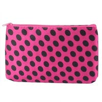 Unique Bargains Lady Dots Pattern Makeup Cosmetic Bag Organizer Red Black