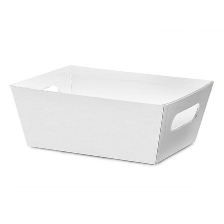 """Pack Of 6, Solid White Large Wide Base Market Trays 5.5"""" X 7.5""""X 3.5"""" For Gourmet Gift Baskets, Food Baskets"""