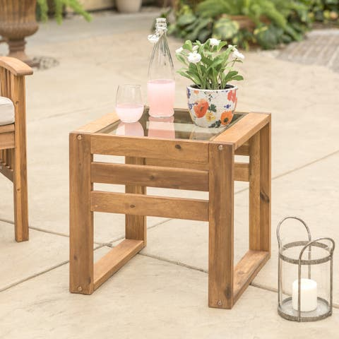 Hudson Brown Acacia Outdoor Side Table with Glass Top