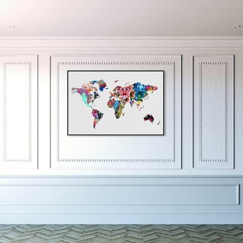 Oliver Gal 'Mapamundi' Maps and Flags Wall Art Framed Canvas Print World Maps - White, Blue