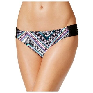 Bikini Nation Juniors Ruched Side Printed Bikini Bottom Multi-Color Small S
