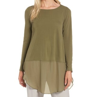 Eileen Fisher NEW Olive Green Womens XS Silk Layer-Look Tunic Blouse