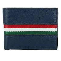 Laurant Bennet Men's Leather Bifold Wallet with Stripe - One size