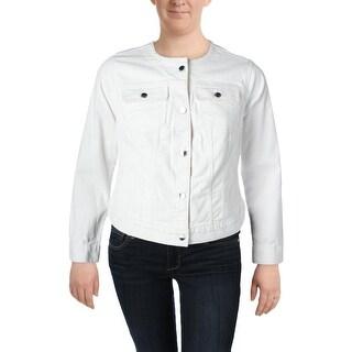 Lauren Ralph Lauren Womens Plus Carstina Denim Jacket Button-Up Casual