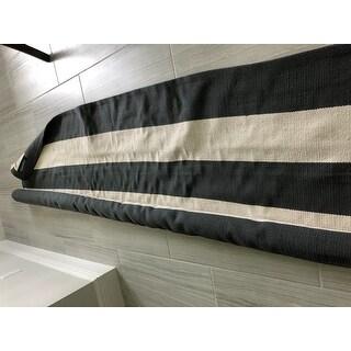 Safavieh Montauk Hand-Woven Flatweave Grey/ Ivory Stripe Cotton Rug - 8' X 10'