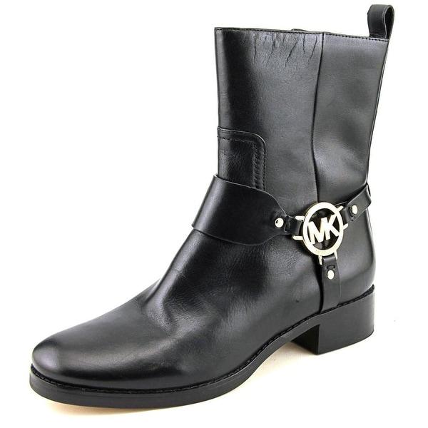 Michael Michael Kors Fulton Biker Bootie Women Leather Black Mid Calf Boot