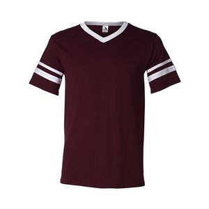 V-Neck Jersey with Striped Sleeves - Maroon/ White - L