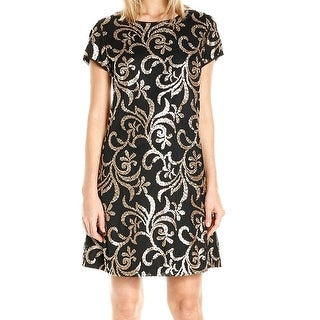 Jessica Simpson NEW Black Gold Women's Size 6 Shift Sequined Dress